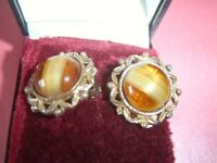 Vintage Antique Amber Colour Tigers Eye Gold Tone Edge 18mm Clip On Earrings