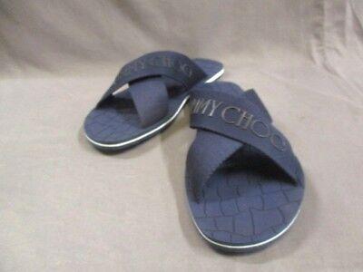 Auth JIMMY CHOO DarkNavy Black Canvas Rubber Sandals Men