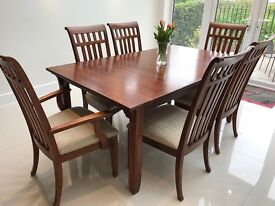 American Living Cherrywood Dining Table and Chairs & Glass Display Cupboard by Lexington Furniture
