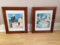 2 small pictures, wooden frame, good condition - £8