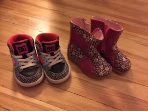 One pair of ankle boots & one pair of high tops, size 5