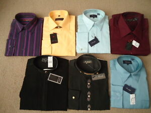 7 BUTTON UP DRESS SHIRTS NEW UNWORN IN WRAP. M-XL