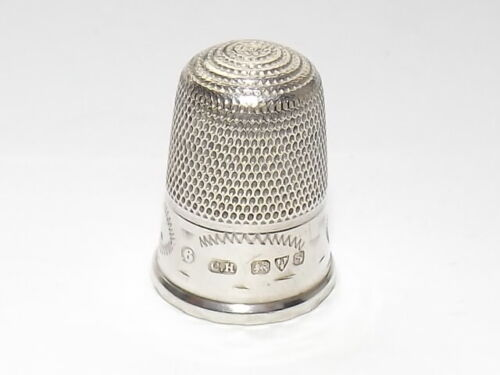 ANTIQUE SOLID SILVER STERLING THIMBLE, SIZE 6, CHARLES HORNER, CHESTER 1915
