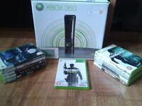 xbox 360 elite black console, original box and games bundle