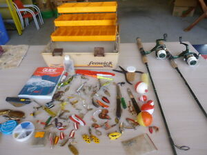 Fishing Collection - 2 Rods & Reels - Tackle Box - Lures Etc