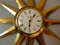 Vintage Mid Century Brass Starburst Wall Clock