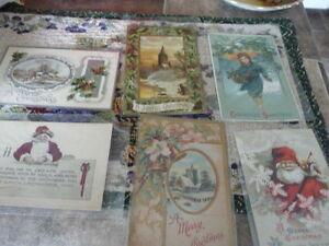 Lovely Collection Of 6 Antique Christmas Post Cards 1909