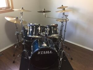 Tama Rockstar Drums with hard cases & hardware case