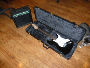 Squier Bullet Strat Plus Case and 20 W Stagg Amp