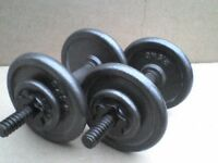 33 lb's 15 kg Metal Dumbbell barbell Weights and Bars - Heathrow