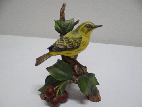 Vintage Andrea by Sadek Yellow Warbler w/Cherry Bird Figurine 1994