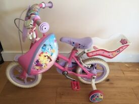 "12"" Disney Princess bike with stabilisers, dolly seat and matching helmet"