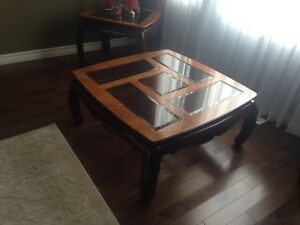 Wood/Glass Coffee Table & 2 Side tables