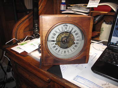 Antique American Bank Protection Co Electric TimeR  signed metal diAL WOODEN BOX