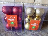 New Christmas Baubles - 12 x red, 12 x gold