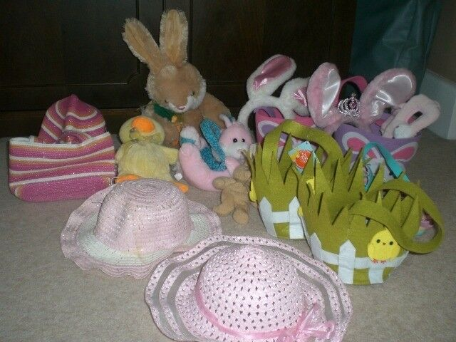 CUDDLY BUNNY, FLOPPY EARS, EASTER EGG HUNT BASKETS, SUN HATS, BOOKS