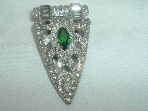 Vintage Art Deco Emerald n White Rhinestone Fur Dress Clip in Gift Box
