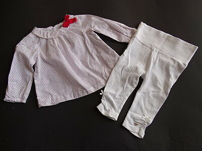 JACADI Rot weiß gepunktete Bluse mit roter Schleife Gr.6M 68