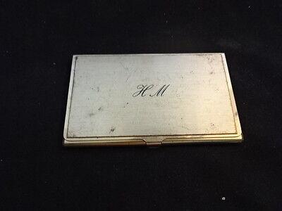 Old Vtg Gold Tone Business Card Holder Case H.m. Wcards Ara Trailblazer Inc