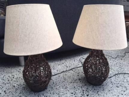 Vintage retro cream fabric light lamp shade floor lamps gumtree pair of twisted wood base lamps cream shades 50 pair aloadofball Choice Image