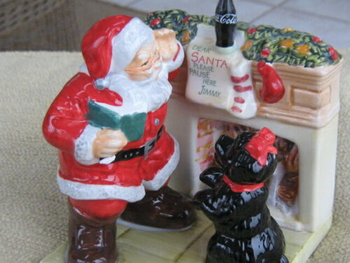 Coca-Cola Holiday Portraits Salt & Pepper Shakers - Santa with Dog (Brand New)