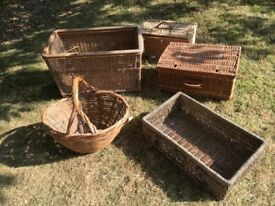 5 various vintage large baskets