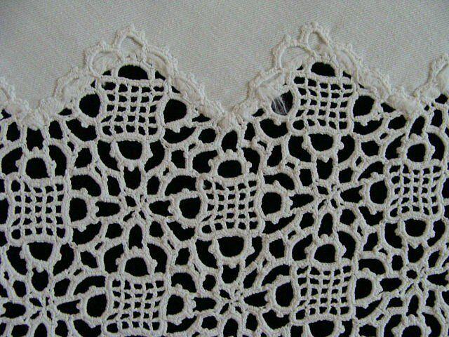"FAB Antique VICTORIAN English Tea Tablecloth 34"" Hand Made Venetian Lace PRISTIN"