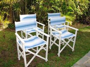4x Beach House Directors Chairs ~ Like New Varsity Lakes Gold Coast South Preview