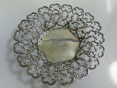 Elegant Hayward & Sweet Monogrammed Sterling Silver Open Work Dish