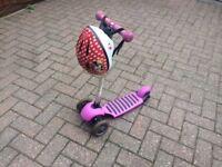 Children's scooter with helmet