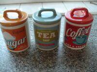 Tea ,Sugar, Coffee Containers,