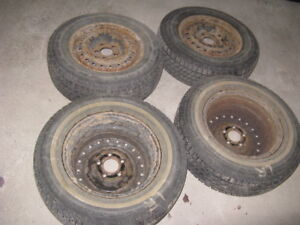 Set of 4 winter tires with rims: low price for quick sale