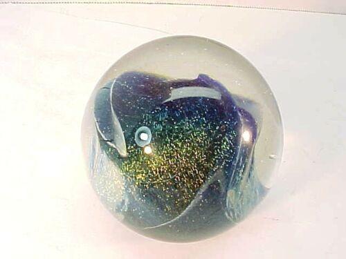 Beautiful Signed Robert Eickholt 1984 Blue Vintage Art Glass Paperweight