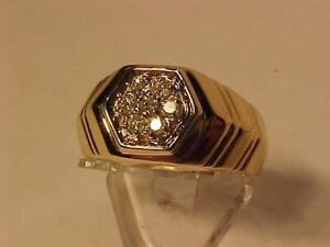 #3295-14k yellow gold man`s DRESS RING-0.23 ct  DIAMONDS Size 10 1/4  Appraised $2350.00 sell $695.00 FREE S/H-CANADA