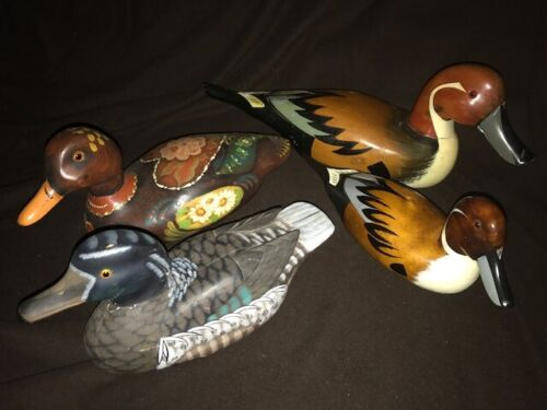 "Lot of 4 Carved Wood Duck Decoy Sculpture Figure 10"" - 16"" Vintage - Modern"