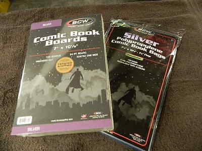100 New BCW Silver Age Resealable Comic Book Bags And Boards - Acid Free - Archi