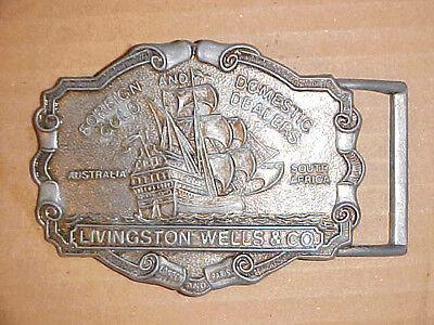 Vtg Livingston Wells   Co   Foreign   Domestic Gold Dealers Belt Buckle