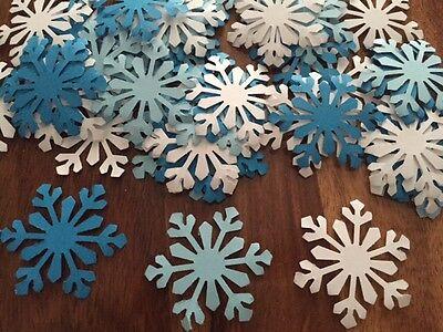 65 GIANT snowflakes FROZEN confetti table decorations Christmas Party White blue (Giant Snowflakes)