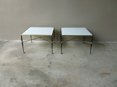 PAIR MID CENTURY FRENCH IRON & BRASS END TABLES W MILK GLASS TOPS MAISON JANSEN