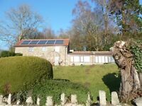 Three bedroom cottage with outstanding view for let, garden, greenhouse, and apple trees.