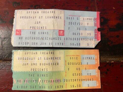 The Kinks--2 concert ticket stubs, 1978 & 1979, Uptown Theatre Chicago