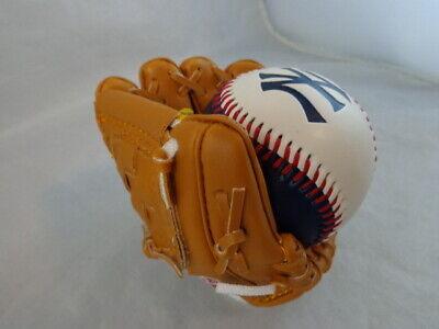 Miniature Rawlings Baseball Glove NY Yankees With Stand & Ball