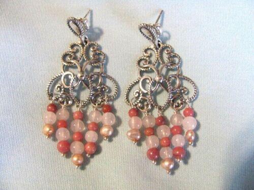 CAROLYN POLLACK SHADES OF PINK RHODONITE PEARL ROSE QUARTZ CHANDELIER EARRINGS