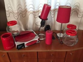 Red Accessories including new dinner plates, storage jars, lamp, candles