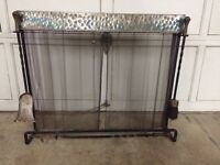 High Quality Mid Century Hammered Metal Fireplace Screen ~L@@K