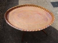 Large Oval Eastern / Oriental Copper Decorative Tray Top Table