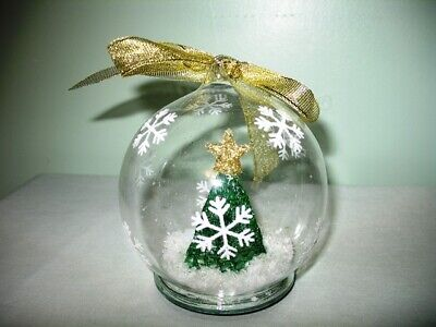 LIGHT UP GLASS GLOBE CHRISTMAS TREE ORNAMENT-WHITE LIGHT & COLOR CHANGING!