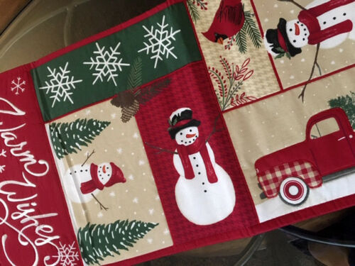"Rustic Christmas Decor Table Runner Red Pickup Winter Lodge Centerpiece 36"" L"