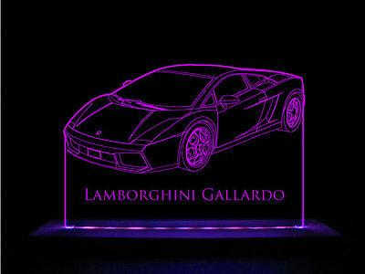 Lamborghini Gallardo LED Acrylic Edge Lit Sign+AC adaptor+Remote Control