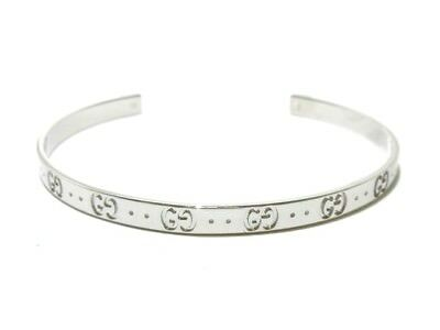 Auth GUCCI Icon 18K White Gold Bangles #16